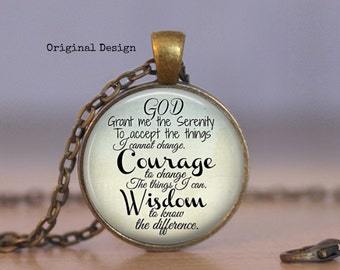 Serenity Prayer Jewelry Serenity Prayer Necklace Recovery Jewelry Inspirational Necklace AA Recovery Necklace Spiritual Jewelry