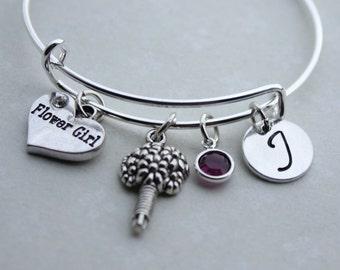 flower girl initial bracelet, flower girl bracelet, flower girl initial jewelry, flower girl jewelry, flower girl bangle,flower girl initial