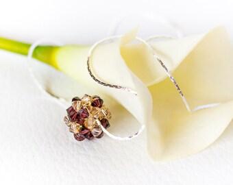 Burgundy Swarovski ball pendant silver necklace, brown Swarovski pendant necklace, champagne pendant, beaded Swarovski crystal necklace