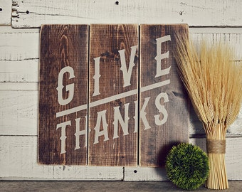 Give Thanks Rustic Wood Slat Sign, Rustic Home Decor, Fall Decor, Fall Signs, Rustic Fall Signs, Thanksgiving Signs, Thanksgiving Decor