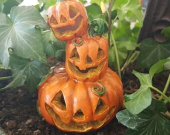 Miniature Stack of Happy Pumpkins- Lights Up!
