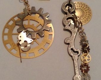 Silver & Gold Clock hand and Gear Earrings