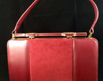 Vintage red leather and suede handbag