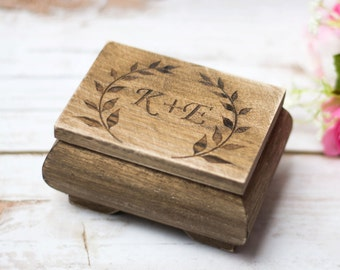Rustic Wedding Ring Box Moss Ring Bearer Pillow Box Ring Holder Moss ring box Personalized ring holder