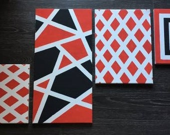 Striped Paintings - Custom Arranged (Set of 4)