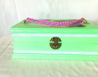 Gift idea woman teenager: Green Mini Valise vintage hand made of wood - jewelry box, memories, treasures -Box wood -retro Decoration