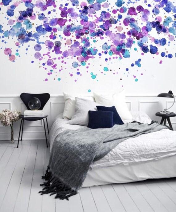 Púrpura puntos / puntos - adhesivo Wallpaper - Wallpaper extraíble - etiqueta engomada de la pared - Mural - Wallpaper personalizable - acuarela de la pared