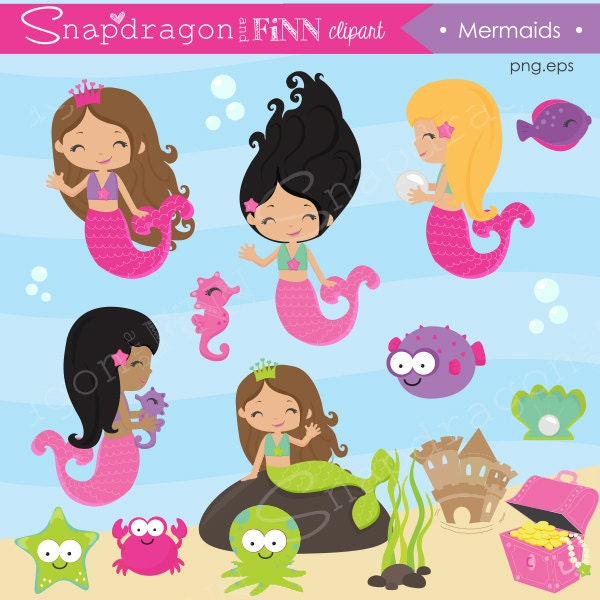 Clip Art Mermaid Clipart mermaid clip art etsy clipart fish under the sea cute seahorse papers commercial license included