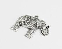 Antique Silver Large Elephant Pendant - 2 Pieces