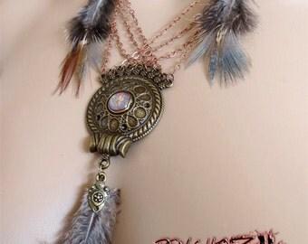 "Necklace ""ethnic Amarra"" Bronze feathers"