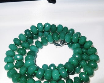 Lovely raw emerald knotted necklace