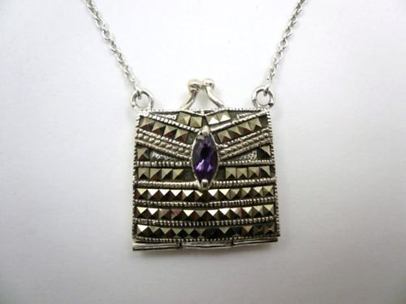 New sterling silver marcasite amethyst purse pendant locket necklace
