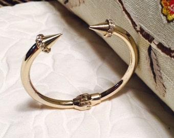 Goldtone Rhinestone Encrusted Hinged Bracelet
