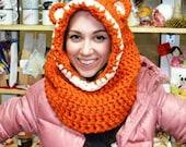 Snudy Fox, orange, knitted, warm, scarf, ears, hat, handmade