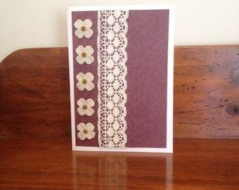 Handmade crimson purple lace card with flowers