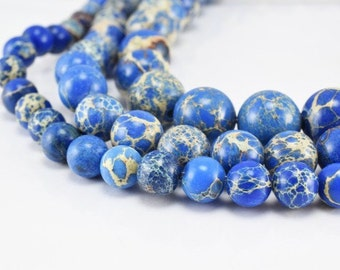 Natural Imperial Impression Blue Jasper Beads 6mm, 8mm, 10mm Natural Healing Chakra Birthstone for Jewelry Making