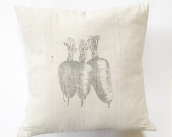 Carrots French Grain Sack Pillow Cover