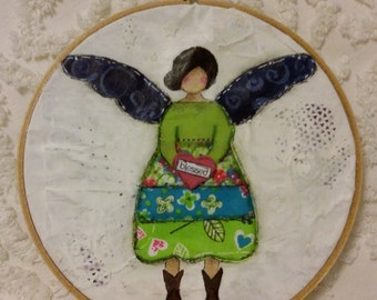 Mixed Media Girl with wings and cowboy boots