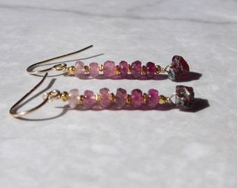 Garnet Rough Earrings, Raw Garnet Earrings, Ombre Earrings, Shaded Tourmaline, Pink Tourmaline, Gemstone Earrings, Shaded Pink Earrings