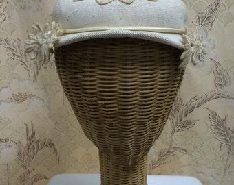 Vintage 1950s B Altman Cream Hat with Floral Appliques