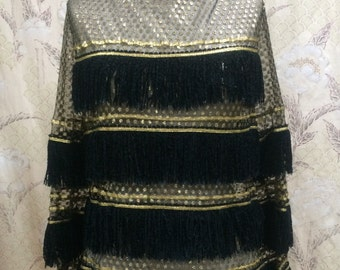Vintage 1970s Sheer Black and Gold  Fringed  Top