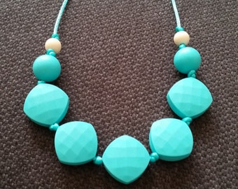 Aqua quadrate silicone teething necklace