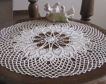 Beige crochet doily Round doily 14 inches diameter Crochet centerpiece Vintage doily Crochet lace doily Gift for her Table decoration