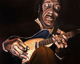 Muddy Waters, DIGITAL Art, Print from Original Oil Painting, Blues Music Legend, Gifts for Musicians, Printable