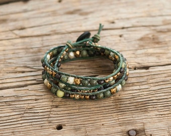 Earthy triple wrap leather bracelet