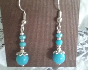 Turquoise earrings, blue earrings, turquoise dangles, silver earrings