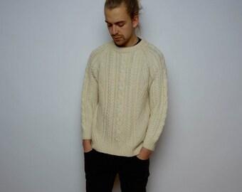 Vintage 80's Aran Knit Wool Sweater