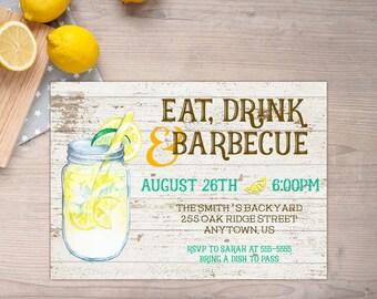 BBQ Invitation, Graduation Invitation, Summer Party, Family Reunion, 4th of July, Eat Drink BBQ, Lemonade, Housewarming, Birthday Barbecue