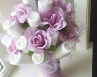 Purple Flower Diaper Bouquet