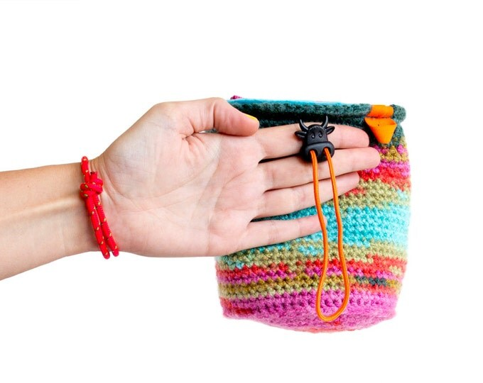 Rock Climbing Bag. Crochet Chalk Bag Gifts for Climbers. Bouldering Bag M Size