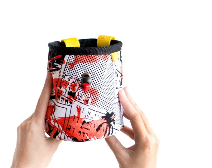 Climbing Chalk Bag. Chalk Bucket. Rock Climbing Powder Bag. Climbing Accessories. Gift for Climbers. Size L