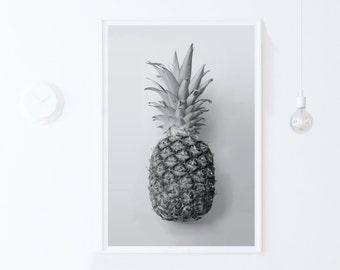 Pineapple Print, Pineapple PRINTABLE Art Modern Digital Print Download-Tropical Printable Art-Grey Wall Art-Photography-INSTANT DOWNLOAD Art