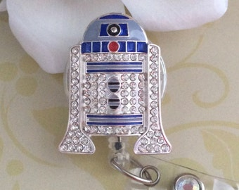 Rhinestone R2D2 Star Wars Inspired Retractable ID Badge Reel, Nurse Badge Reel