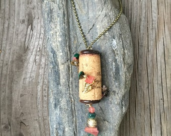 Bejeweled Wine Cork Necklace