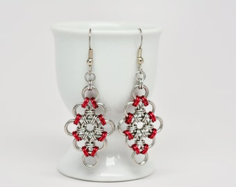 Japanese Diamond Earrings in Stainless Steel and Red Anodized Aluminum