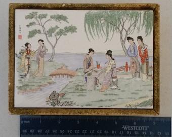 vintage japanese wooden jewelry keepsake box 1950's with geisha girls and river scene - tile top & wood  frame japan trinket paper exterior