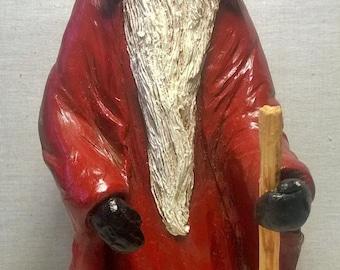 Handpainted Old Man Santa with Walking Stick