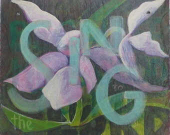 Sing to the Lord, Bible verse Hand painted with acrylics, Orchids white and pink, Custom Available, Psalm painting, Rustic Modern Art