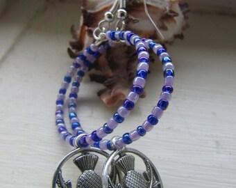 Scottish thistle earrings , Beaded hoop earrings , Lilac and purple earrings , Dangle hoop earrings