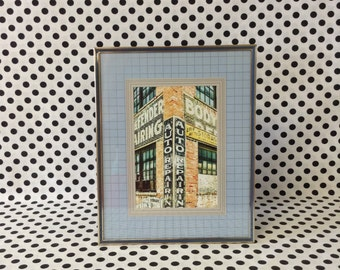 Grins and Graphs~Blue Metal Frame~Gold Frame~Blue and Silver Graph Mat~Holds 5x6 Photo~Vintage Picture Frame