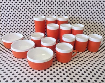 Olympian Orange~Therm-O-Ware~15pc~Olympian~Cups~Tumbler~Bowl