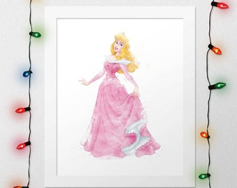 SLEEPING BEAUTY, Princess Aurora, Sleeping Beauty Print, Princess Aurora Watercolor, Princess Aurora Nursery, Disney Wall Art, Digital Print
