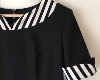 Vintage 1980's Lanz Originals Cotton Piqué Dress    Black and White Dress