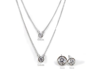 Set sale! Simple round stud and necklace set