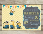 Minion birthday invitation,Minion invite, card ,Minion party printable,Minion Birthday Invitation, first birthday, 1st birthday invitation