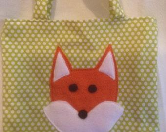 Tote bag,fox tote bag,fox bag,childs tote bag,gift bag,toy bag,animal tote bag,